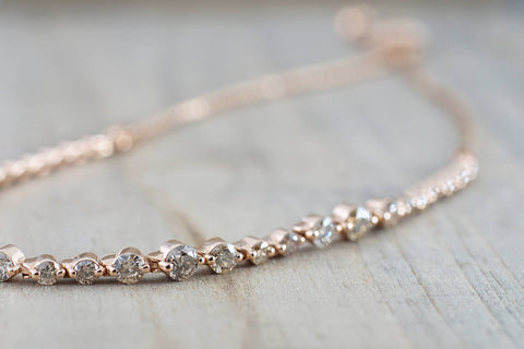 14k Solid Rose Gold Champagne Diamond Single Prong Adjustable Bracelet 1.82 carats