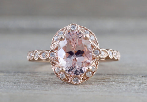 Art Deco Oval Halo Morganite Ring ASPER1430025