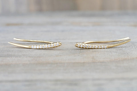 14k Yellow Gold Diamond Bar Cuff Curve Earring Studs Stud Hook