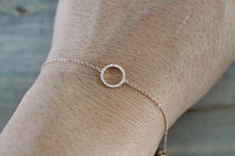 14k Solid Rose Open Circle Round Micro Pave Diamond Infinite Charm Bracelet Dainty Love Gift Fashion Thin