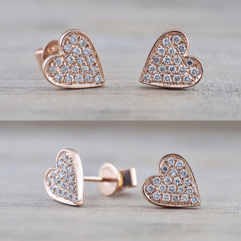 14k Rose Gold Disk Design Heart Diamond Earrings Stud Post Studs Round Micro Pave Flat