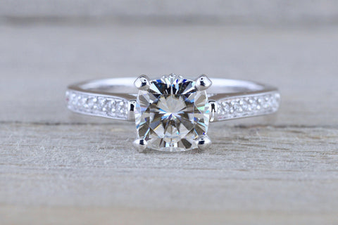 6.5mm Charles Colvard Forever Brilliant Cushion Moissanite 18k White Gold Solitaire Diamond Band Engagement Ring