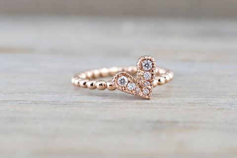Micro Pave Diamond Heart Bead Ring