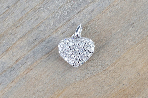 14k White Gold Heart Diamond Puff Micro Pave Pendant Charm