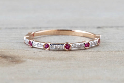 14k Rose Gold Round Cut Ruby Diamond Engagement Pave Promise Ring