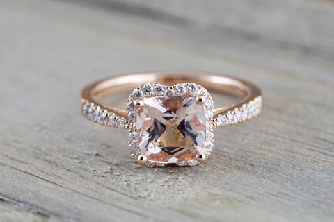 14k Rose Gold Morganite Flower Clover Diamond Halo Engagement Promise Ring Pink Peach