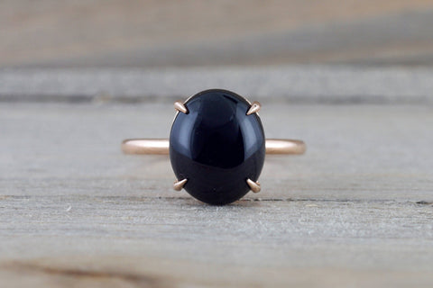 14k Rose Gold Oval Black Onyx Prong Engagement Promise Ring Rope Bead Vintage Classic  10x12