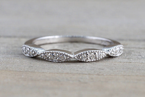 14k White Gold Round Cut Diamond Segment Marquise Stackable Ring Band Wedding Anniversary