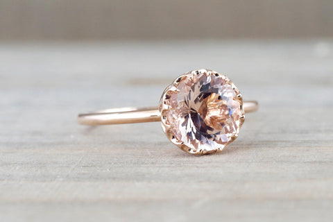 8mm Melrose 14k Rose Gold Round Morganite Engagement Ring Crown Vintage Solitaire