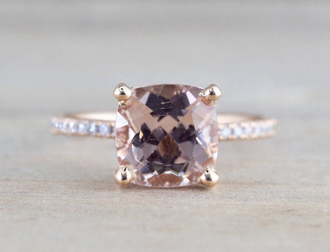 14k Gold Dainty Cushion Morganite Under Hidden Halo Diamond Ring 8mm ASPER1430028