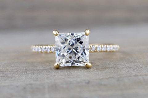 7 mm Charles Colvard Forever Princess Moissanite 14k Yellow Gold Solitaire Under Diamond Halo Engagement Promise Ring