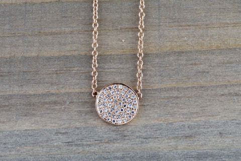 14k Rose Gold Circle Disk Round Micro Pave Diamond Invisible Dainty Pendant Charm