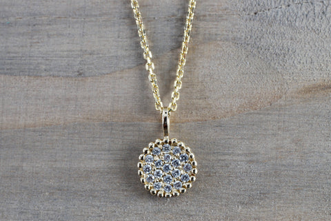 Gold Diamond Disc Round Circle Pendant with Chain Necklace Medallion AN1001