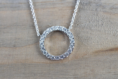 14k White Gold Circle Disk Round Micro Pave Diamond Invisible Dainty Pendant Charm