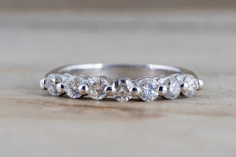 14k White Gold Diamond Vintage Ring Antique Half Dainty Band Single Prong