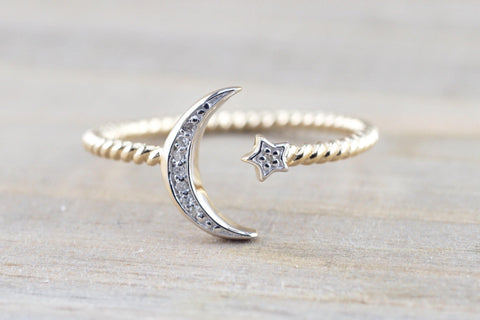 14k Yellow Gold Solid Double Diamond Moon Star Open Ring Band