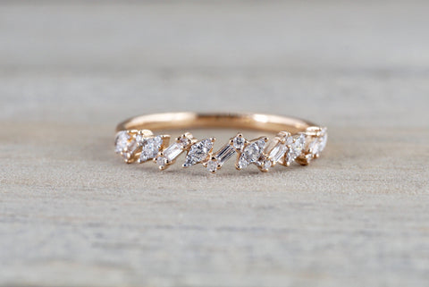 Payment plan for Valerie 18k Gold Diamond Baguette Zig Zag Marquis and Rectangle Segments Ring Band