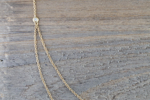 "14k Yellow Gold Double Chain Moon and Star Micro Pave Diamond Necklace 16"" 17"" 18"" Chain"