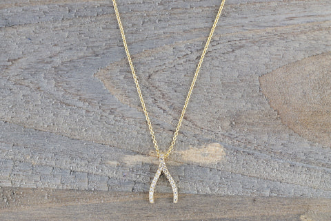 14k Yellow Gold Wish Bone Pave Diamond Dainty Pendant Charm with necklace chain
