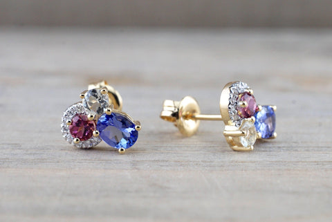 14k Yellow Gold Cluster Tanzanite Pink Tourmaline Green Amethyst Diamond Earring Studs