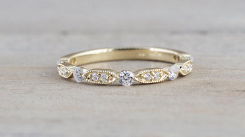 14k Yellow Gold Diamond Vintage Milgrain Bezel Band Ring Wedding