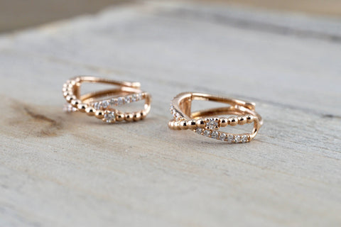 14k Rose Gold Diamond Rope Hoop Earrings