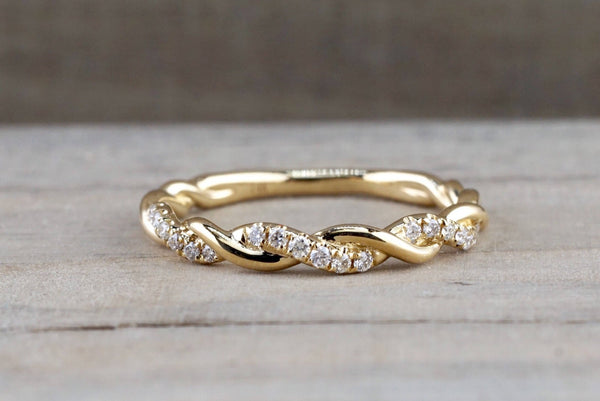14k Yellow Gold Round Cut Diamond Rope Twined Vine Engagement Pave Stackable Stacking Promise Ring Anniversary