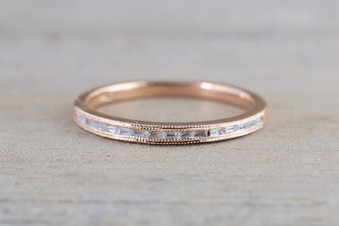 Gold Dainty Thin Baguette Cut Rectangle Diamond Ring
