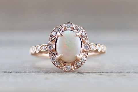 Rose Gold Oval Diamond Fire Opal Vintage Art Deco Halo Ring