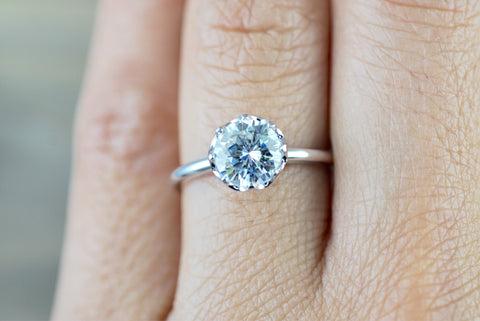 Melrose Solitaire Round Moissanite 8mm Ring Charles & Colvard