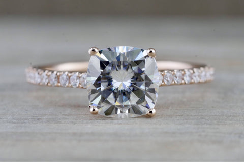 14k Gold Solitaire Cushion Cut Moissanite Diamond Engagement Ring M3073