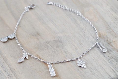 18k White Gold Diamond Charm Bracelet