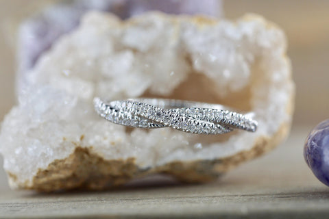 14k White Gold Diamond Pave Rope Twist Curve Polished Stackable Ring Band Wedding Promise Anniversary Fashion Rope Twist Open Curve