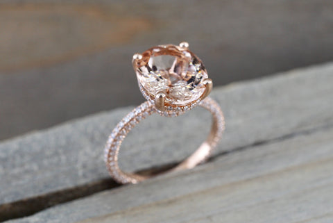 14k Gold Encrusted Under Halo Micro Pave 3 Face Oval Morganite Ring 12x10 ASPER1430030