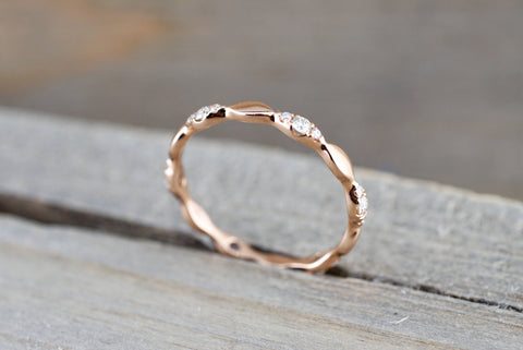 14kt Rose Gold Segment Diamond Ring Band Wedding Engagement Stack Dainty Full Eternity