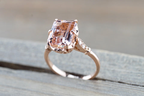 Rose Gold Emerald Cut Morganite Diamond Vintage Engagement Ring 10x8