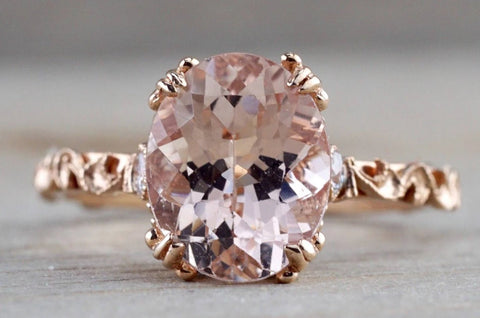 Gold Diamond Morganite Engagement Ring Floral M3068