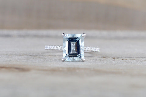 14k White Gold Emerald Cut Aquamarine Aqua Solitaire Engagement Ring