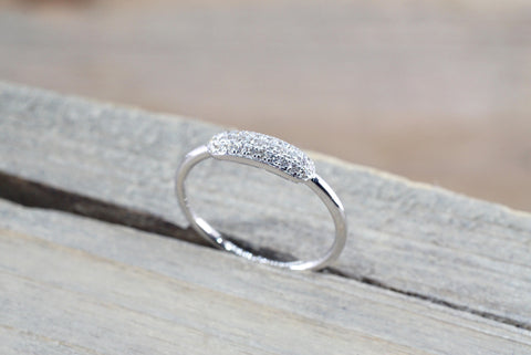 14k White Gold Diamond Micro Pave Band