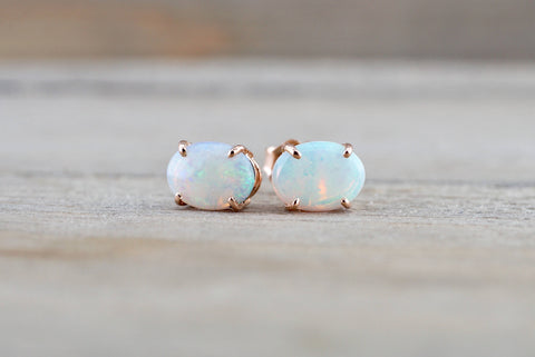 14k Solid Gold Oval Fire Opal Earring Studs Push Back