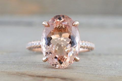 3D Pave Diamond Oval Morganite Pave Hidden Halo 13x9mm