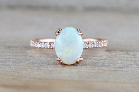 14k Gold Oval Fire Opal Diamond Ring