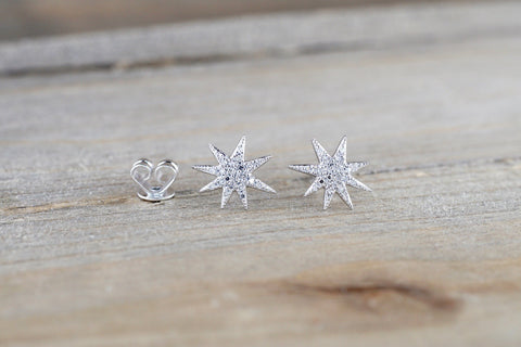 14k Solid Gold North Star Earring Studs Starburst White Rose