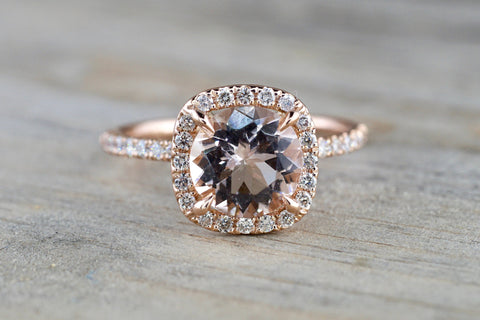 Cushion Halo with Round Morganite Ring