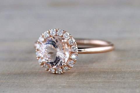 Round Diamond Halo Morganite Ring 7mm
