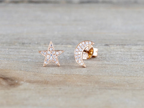 Moon and Star Micro Pave Diamond Stud Earrings