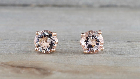 Round Morganite Swirl Studs 7mm
