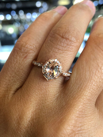 14k Rose Gold Vintage Oval Morganite Diamond Halo ASPER1430026