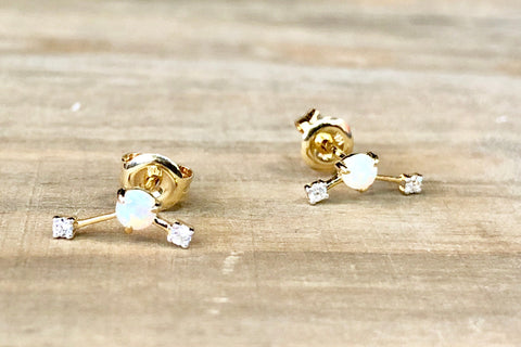 14K Yellow Gold Opal and Diamond Earring Stud
