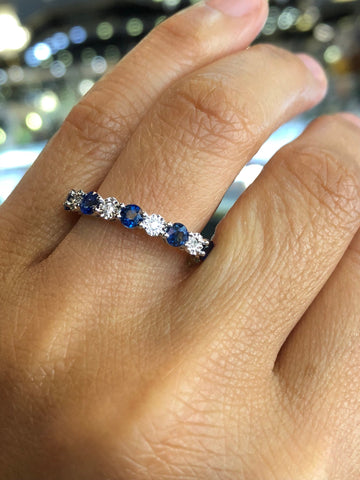 14K White Gold Diamond and Sapphire Band B10070